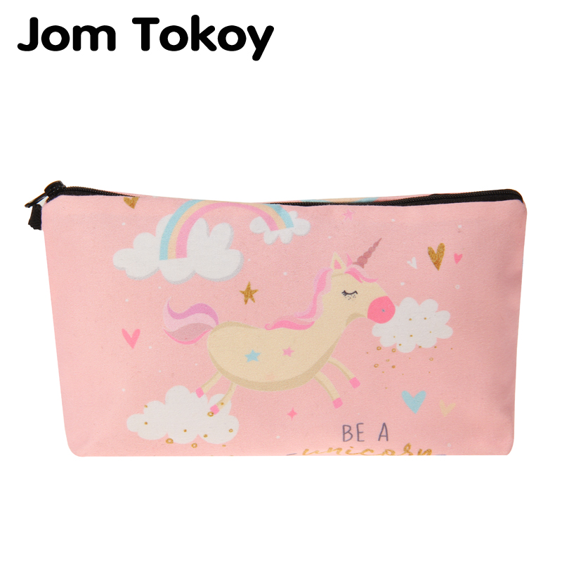 Jom Tokoy 3D Printing Pink Unicorn Makeup Bags With Multicolor Pattern Cute Cosmetics Pouchs For Travel Ladies Cosmetic Bag