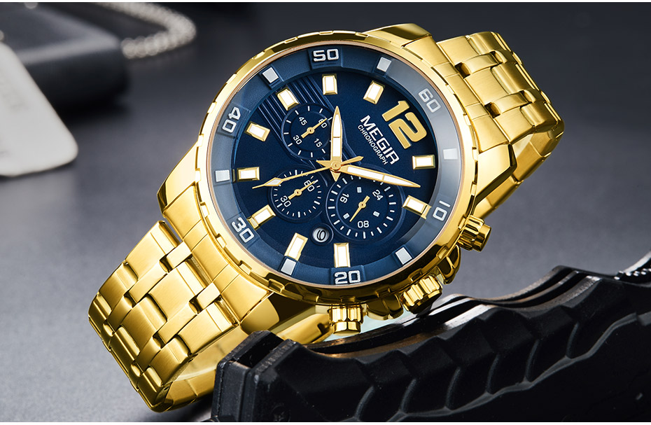 HTB1BabwXGAoBKNjSZSyq6yHAVXac Megir Men's Gold Stainless Steel Quartz Watches Business Chronograph Analgue Wristwatch for Man Waterproof Luminous 2068GGD-2N3