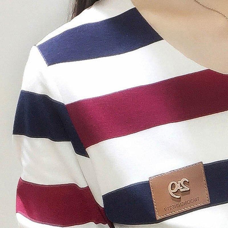 Koreanische neue herbst weibliche T-shirt mode langarm bunte streifen t shirt frauen kawaii student t-shirt casual frauen tops