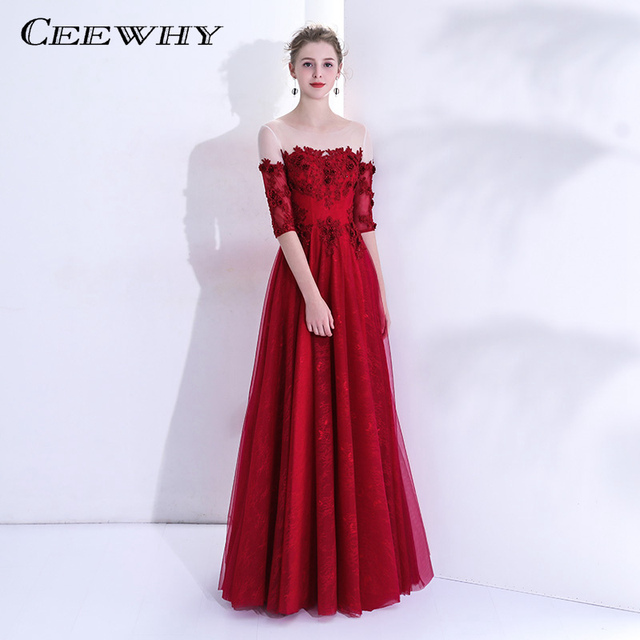 CEEWHY Vestido de Festa Longo Embroidery Appliques Formal Evening Dresses  Long Dress Evening Gowns Half Sleeve 3ac6e8f6b165