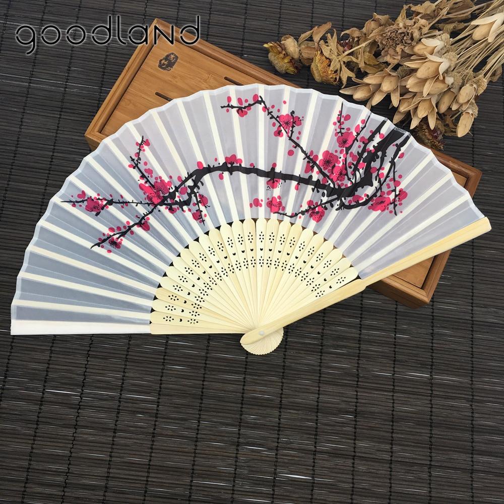 Wysoka Jakość Darmowa Wysyłka 1 SZTUK Japoński Kwiat Wiśni Składane Ręcznie Taniec Wedding Party Decor Fan Prezenty Ślubne dla Gości