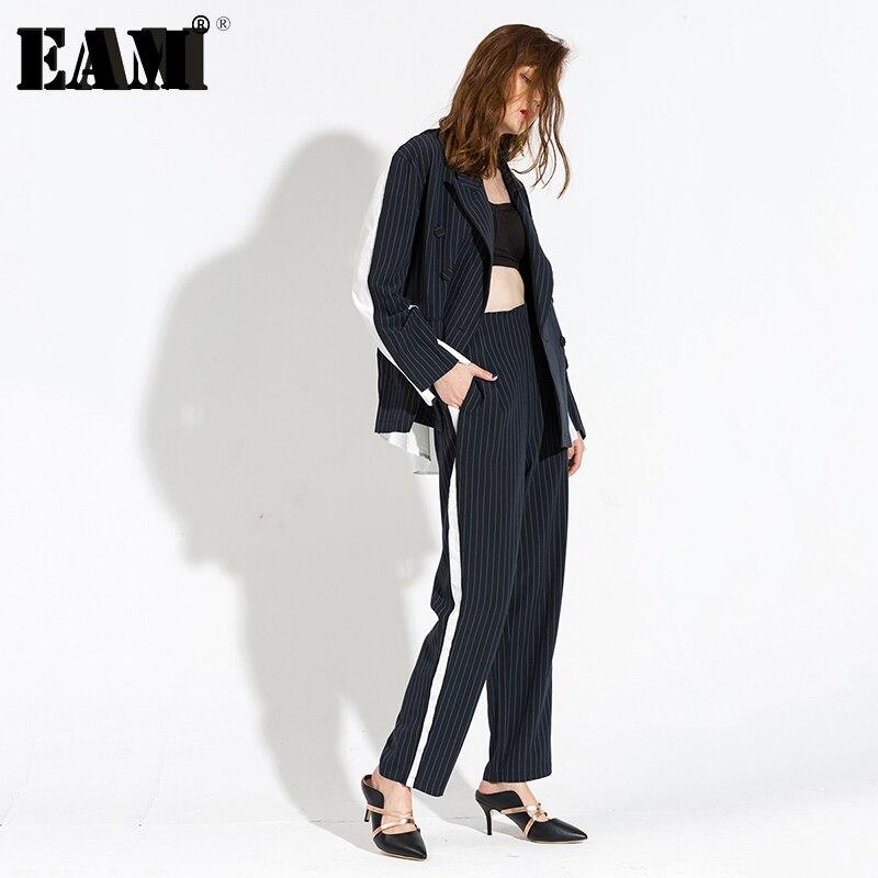 [EAM] 2019 אביב חדש אופנה דש ארוך שרוול פס תפרים צבע להיט כחול כהה מכנסיים שתי חליפת חתיכה נשים אופנה Y65104