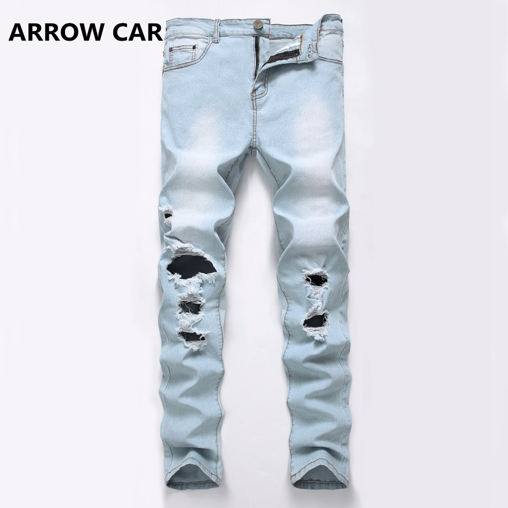 ARROW CAR Mens Casual Jeans Light White Blue Hole Slim Denim Pants Stretch Europe and America Trend Long Trousers Jeans Men