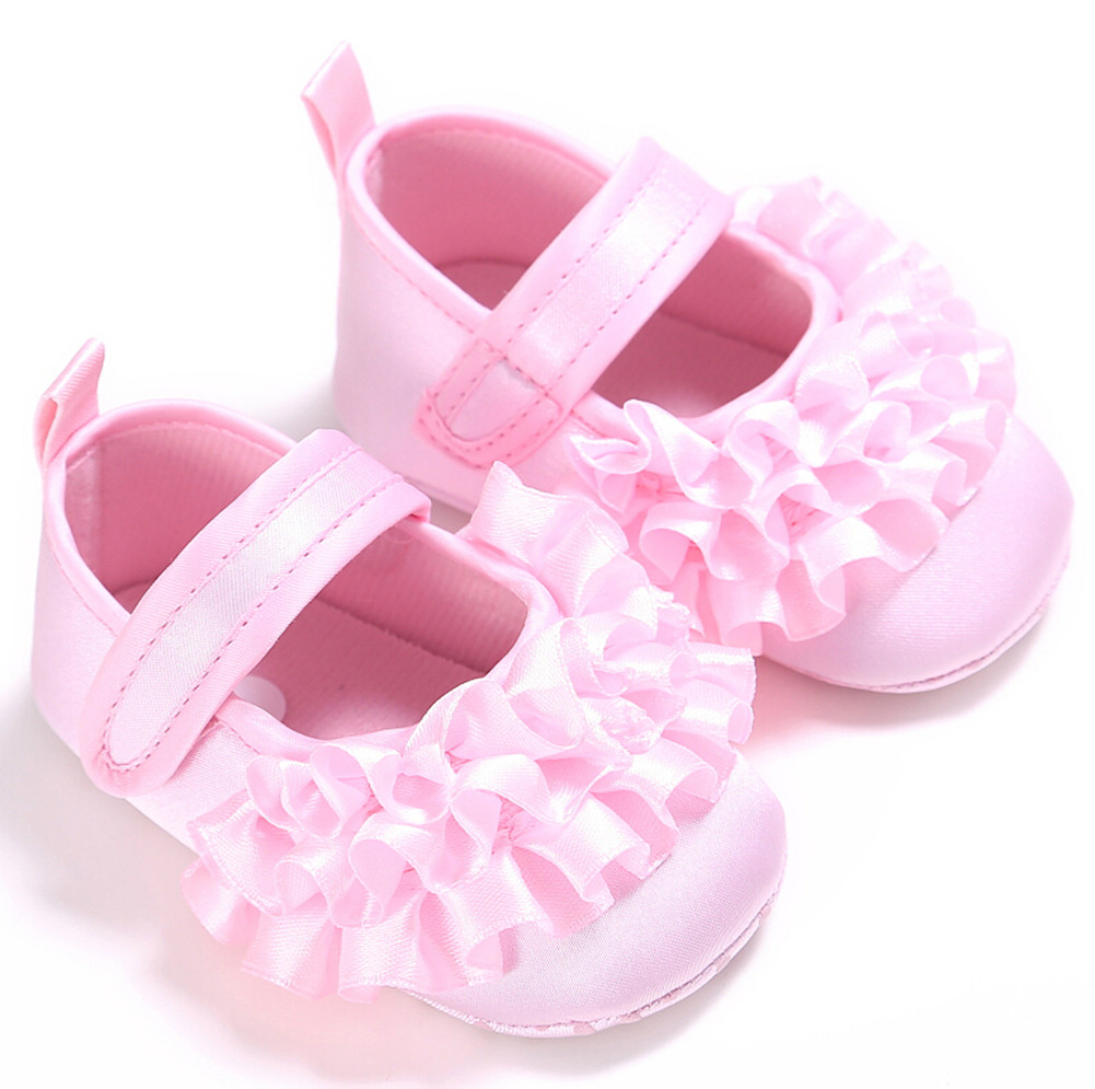 High Quality Baby Girls Non-Slip Newborn Baby Toddler breathable Frilly Flower Shoes 0 to 18M