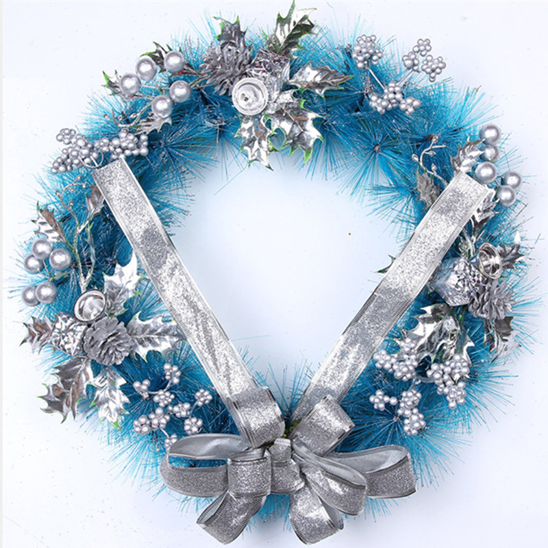 Sky blue christmas artificial garland thick mantel