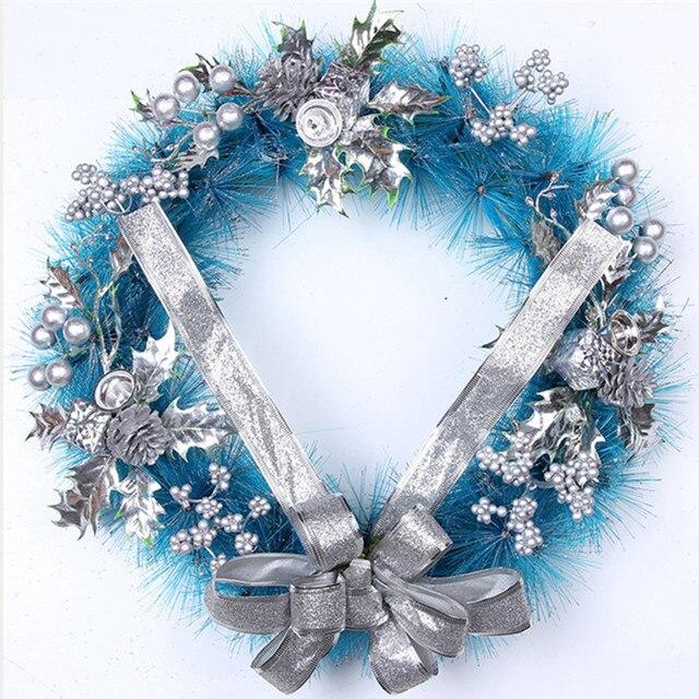 Sky Blue Christmas Artificial Garland Thick Mantel