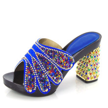Royal blue KL813-99,Italian shoes with matching bag with rhinestone, open toe style high heels for party