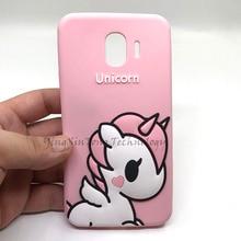 Phone Case For Samsung Galaxy J4 2018 3D Cute Cartoon Soft Silicone Pink Pony Unicorn Cover J7 Neo A7 E7
