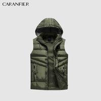 CARANFIER Sleeveless Men's Vest New Fashion Detachable Cap Vest Men High Quality Autumn And Winter Warm Male Vests 2XL 5XL