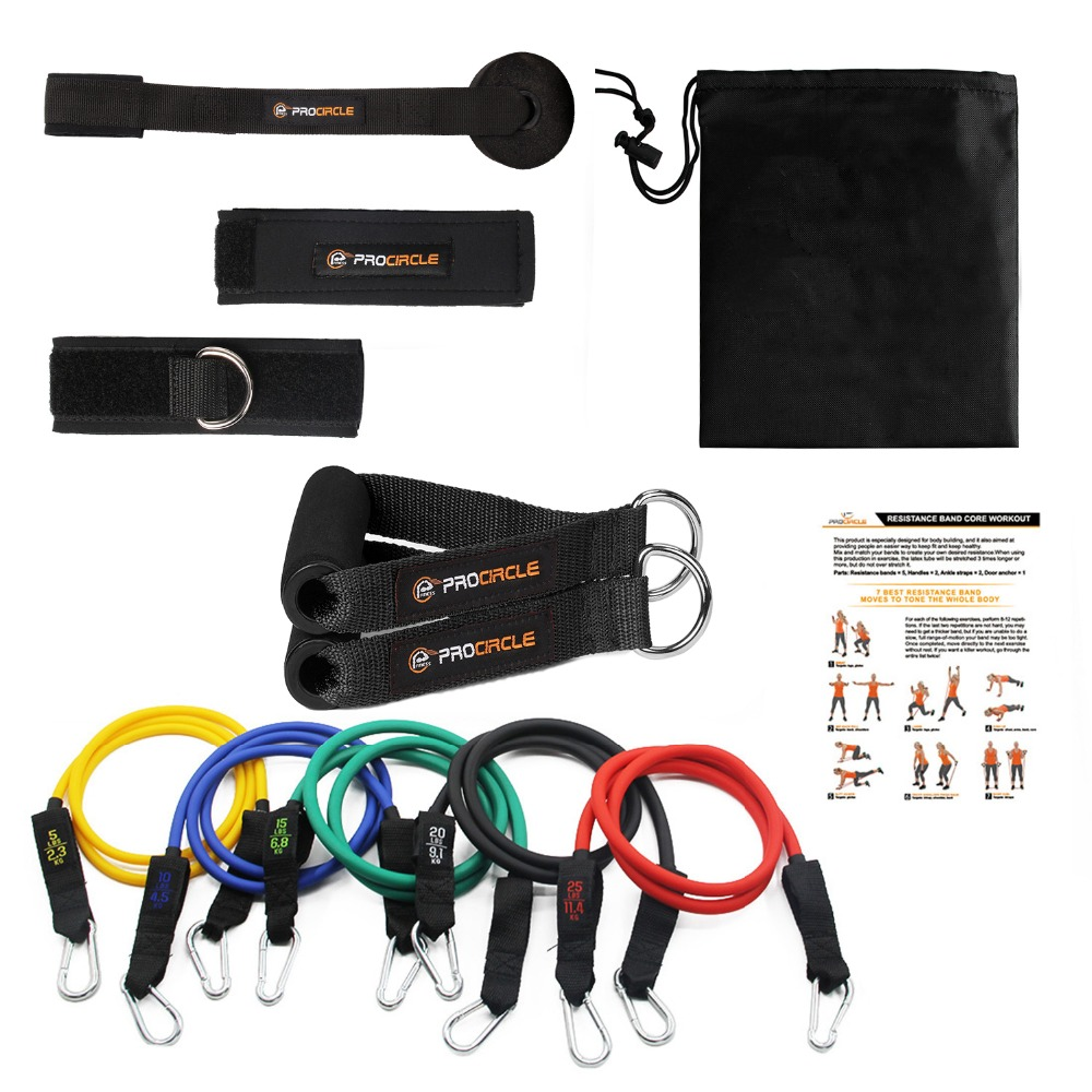 Procircle Resistance Bands 11Pcs Set With 5 Exercise Tubes Band,Door Anchor,Foam Handles,Ankle Straps And Carrying Case