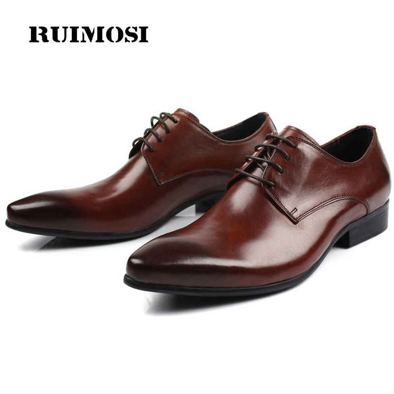 RUIMOSI New Derby Pointed Toe Man Formal Dress Shoes Luxury Brand Genuine Leather Male Oxfords Men's Wedding Bridal Flats IH63