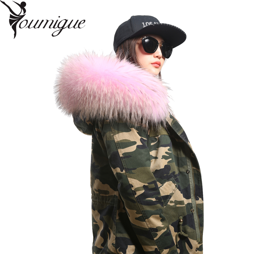 YOUMIGUE New 2016 Jacket Women's Winter Army Green Large Real Fox Fur Collar Hooded Fur Parka Coat Woman Outwear Top Quality women large collar army camouflage fox fur liner hooded coat outwear real fox fur lining jacket woman brand dhl free shipping