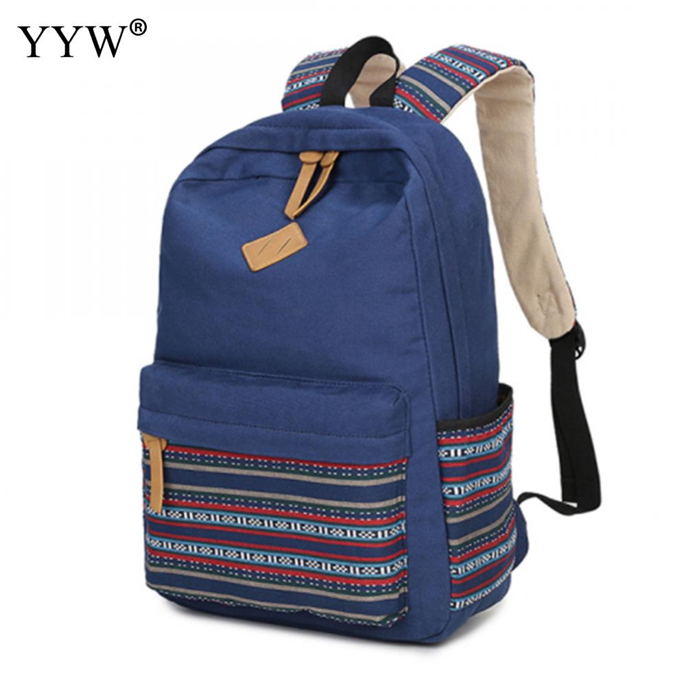Blue Canvas Backpack Female Black Loptop Backpacks for Adolescent Girls Women Striped Khaki Casual Large Capacity School Bag adolescent