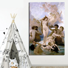 Poster Vintage Birth Of Venus Bouguereau Canvas Painting Print Living Room Home Decoration Modern Wall Art Oil Posters