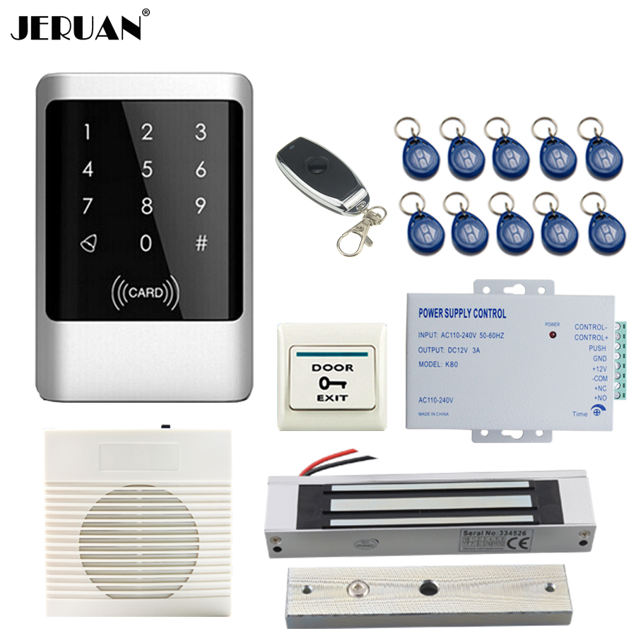 все цены на JERUAN NEW Metal Waterproof RFID Password touch Access Controller system kit+doorbell+Remote control+ Free shipping