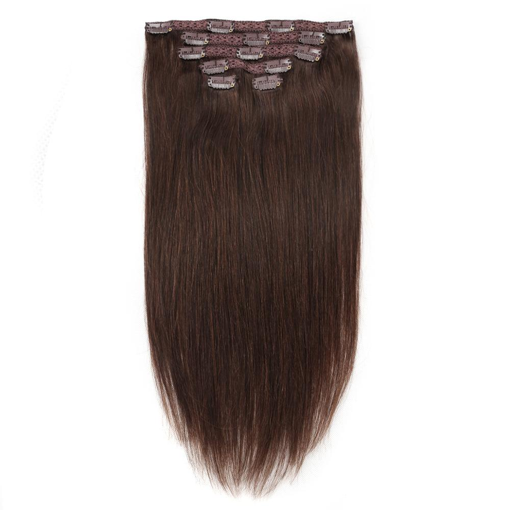 Real Beauty Machine Made Remy Straight Clip In Human Hair Extensions 100% Braziilian Human Hair Clips In 1B 2# 4# 613# Ombre