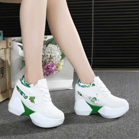 Women Casual Shoes Hidden Heels 10cm Fashion sequins Lace Up Platforms Shoes Female Height Increasing Shoes