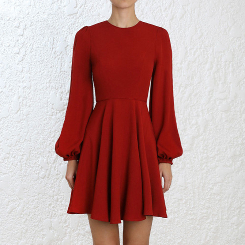Simplement Chic rouge lanterne manches Flare Robe femmes o-cou Empire nouvel an Robe rouge piste courte fête Robe de noël Robe Femme