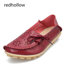 Women Flats Genuine Leather Shoes Soft Loafers Slip-On Female Flat Shoes Ladies Driving Shoes Cut-Outs Footwear Plus Size 35-44