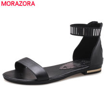MORAZORA Big size 34-46 New genuine leather sandals women zipper summer black gold white casual beach flat sandals wholesale(China)