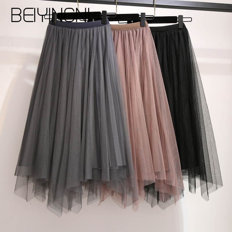 Beiyingni Irregular Tulle Skirts Womens Gold Velvet Pleated Mesh Fashion Tutu Skirt Plus Size Sweet Jupe Solid Color Saia Korean