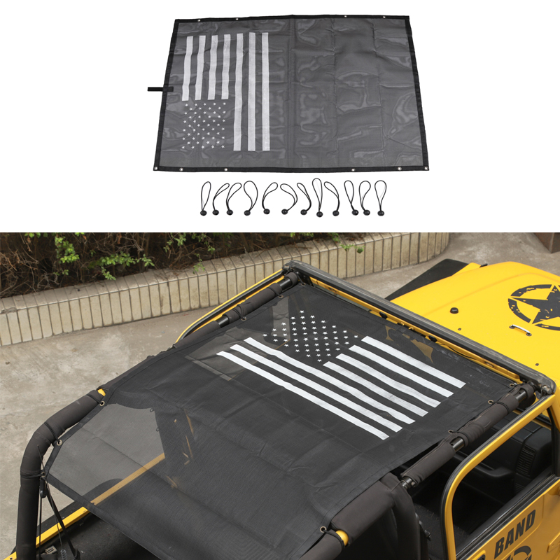 for Jeep Wrangler TJ 1997-2006 4Doors Car Roof Insulation Net Sunscreen Ceiling Mesh Soft UV Protection Sunshade Top Coverfor Jeep Wrangler TJ 1997-2006 4Doors Car Roof Insulation Net Sunscreen Ceiling Mesh Soft UV Protection Sunshade Top Cover