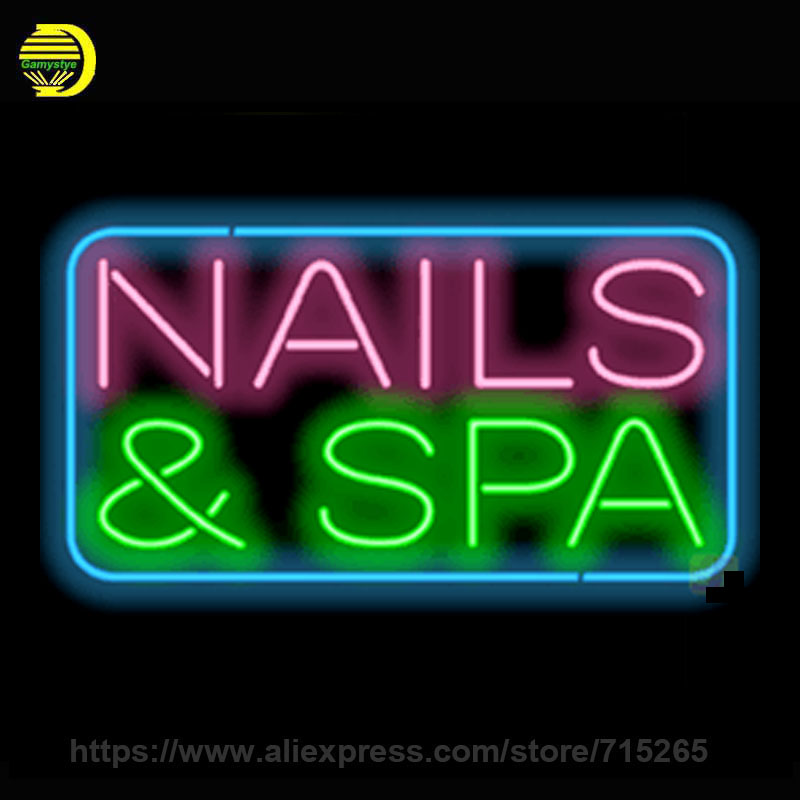 Nails Spa Neon Sign Neon Board Handmade Real Glass Tube Neon Bulbs Neon Light Sign Decorate Shop Super Bright Display 17x12