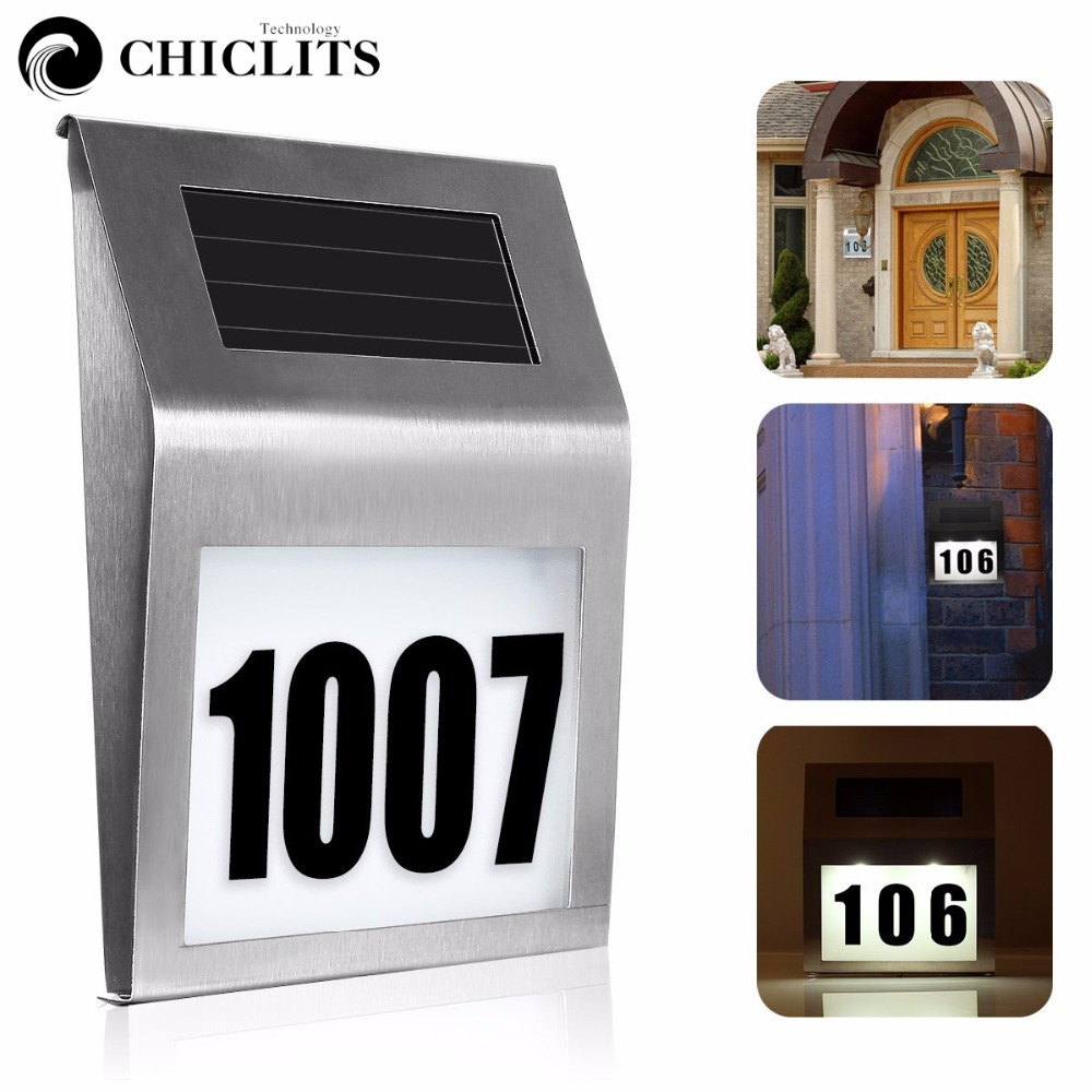Chiclits Outdoor Solar Lights LED Lamps Doorplate Wall Light Stainless Steel House Number Energy Saving Waterproof