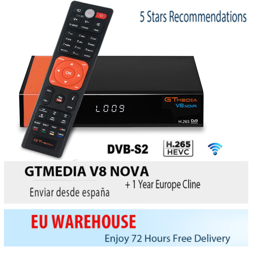 Free Ccam Satellite Receiver Gtmedia V8 NOVA HD 1080P Ccam Cline For 1 Year Spain Built Wifi Dongle V9 Super Power By V8 Super