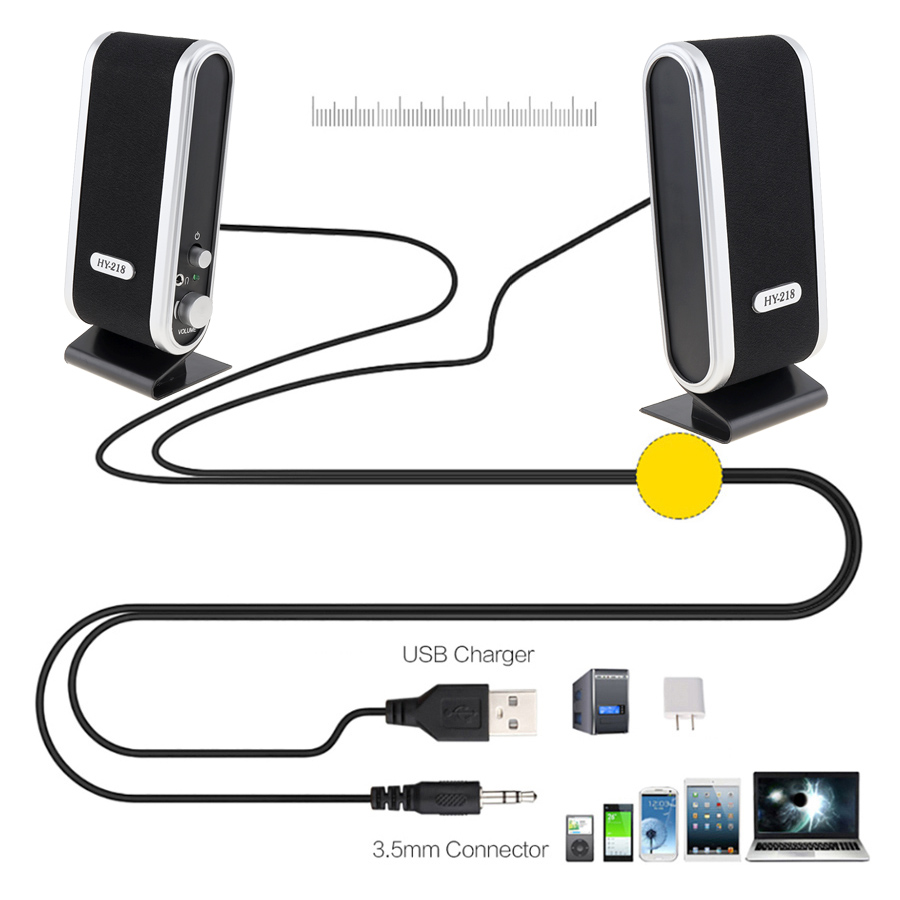hy 218 6w usb2 0 wired usb power speakers stereo 3 5mm audio jack for pc laptop computer mac in computer speakers from consumer electronics on  [ 900 x 900 Pixel ]