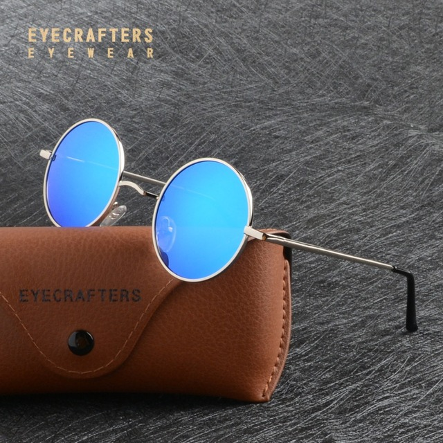 07b3393db Eyecrafters Metal Steampunk Round Polarized Sunglasses Mens Womens Blue  Mirrored Coating Lens Eyewear Retro Vintage SunGlasses-in Sunglasses from  Apparel ...