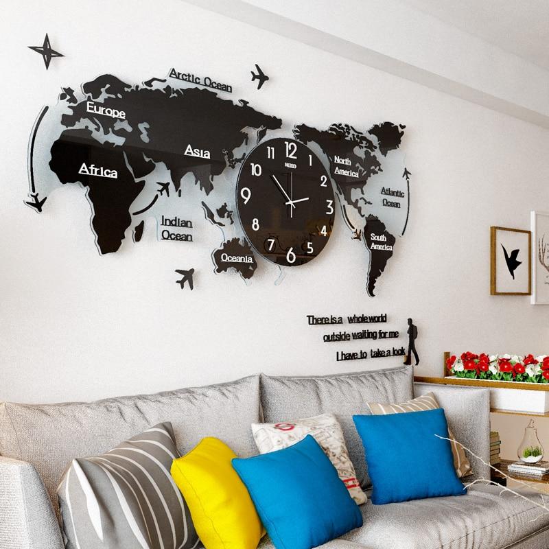 MEISD Creative 3D World Map Large Wall Clock Plane Modern Design Acrylic Ultra Quiet Large Decorative Wall Clocks Free Shipping