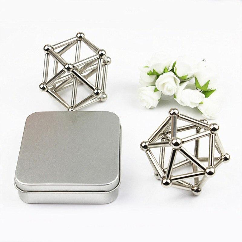 27 STÜCKE Stahlkugeln Mit 36 STÜCKE Magnet Stöcke Neodym Puzzle Magic Cube Balls Spielzeug für Geometrischen Modell Modellbau Kits