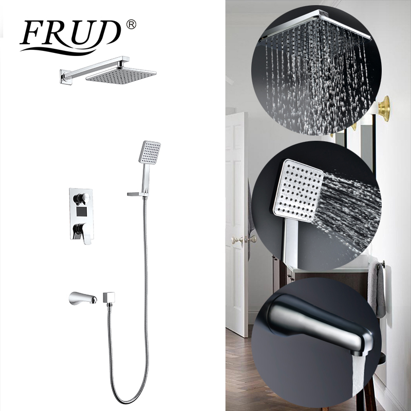 Shower Equipment Enthusiastic Frud Bath Shower Faucets Set Bathroom Shower Tap Wall Mount Mixer Wall Shower Set Waterfall Abs Panel Massage Big Shower Y24015