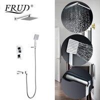 FRUD Bath Shower Faucets Set Bathroom Shower Tap Wall Mount Mixer Wall Shower Set Waterfall ABS Panel Massage Big Shower Y24015