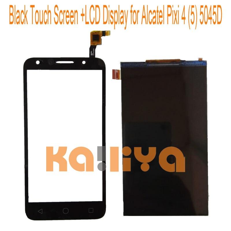 imágenes para Para alcatel one touch pixi 4 (5) 5045 5045d digiziter pantalla táctil + pantalla lcd de panel táctil de 5.0 ''negro