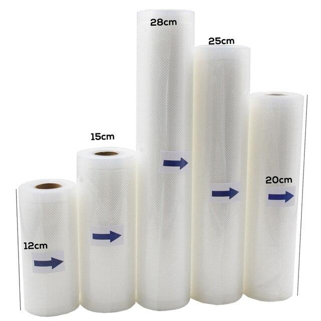 12/15/20/25/28 cm * 500 cm 1 Rolle Lebensmittel Vakuum Verpackung Tasche Für vakuum Versiegelung Lagerung Taschen Haushalt Lebensmittel Schoner Trockenen & Feucht