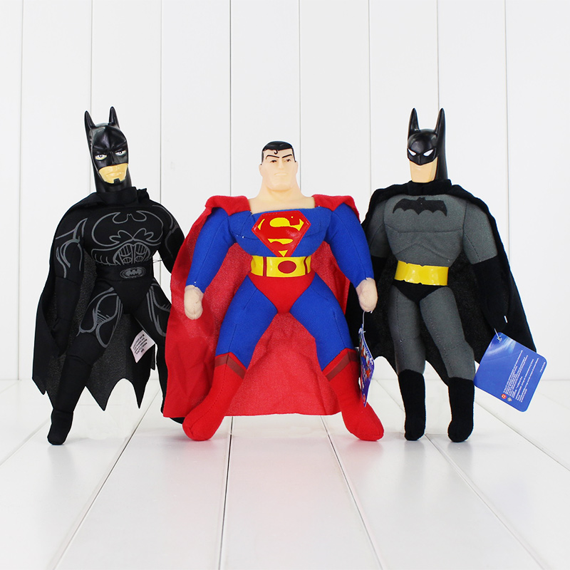1PCS 24 27cm 3 Styles High Quality Plush font b Toy b font Batman Superman Hot