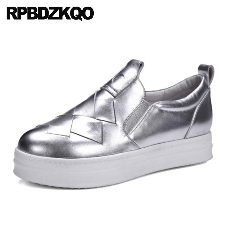Real Leather Metallic Platform Slip On Elevator Designer Shoes Women Luxury 2018 Flats Silver Muffin Casual Creepers Thick Sole