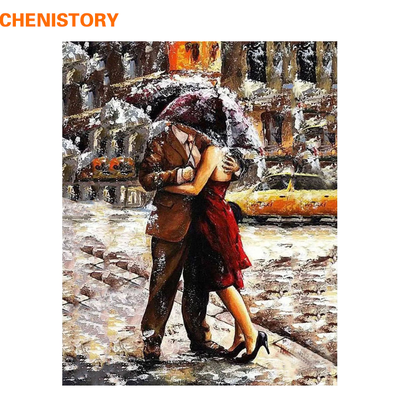 CHENISTORY Sous Parapluie Amant Figure Peinture Romantique Bricolage Peinture Par Numéros Kit Coloration Peint À La Main Cadeau Unique Décor À La Maison