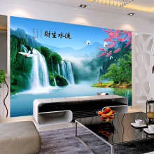 Customized mural wallpaper large 3D Chinese style landscape with waterfall language behind sofa as background in room