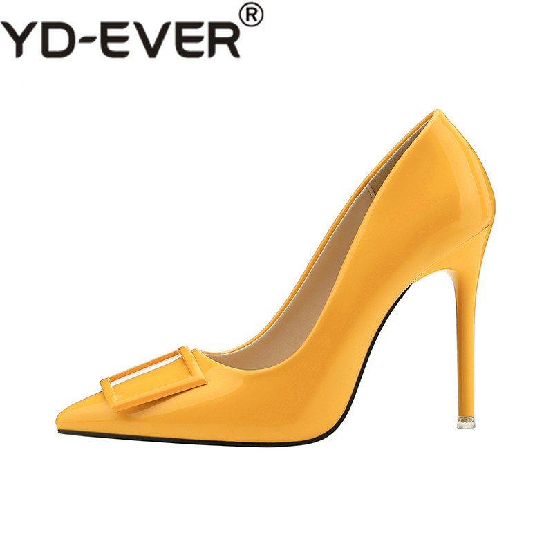 2019 Women 10cm Extreme Fetish High Heels Scarpin Shoes Female Party Wedding  Yellow Lady Heels Leather Tacones Nightclub Pumps 9bde94edbe34