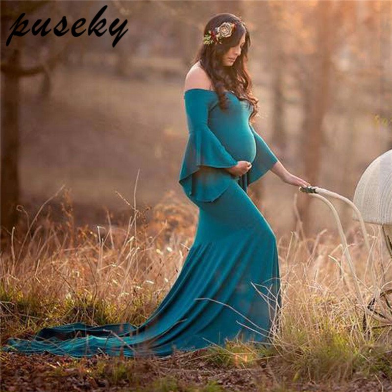 Puseky New Maternity Photography Props Maxi Maternity Gown Maternity Mermaid Dress Maternity Fancy Photo Shooting Pregnant Dress 2017 maternity photography props maxi maternity gown o neck maternity dress fancy shooting photo summer pregnant dress plus size