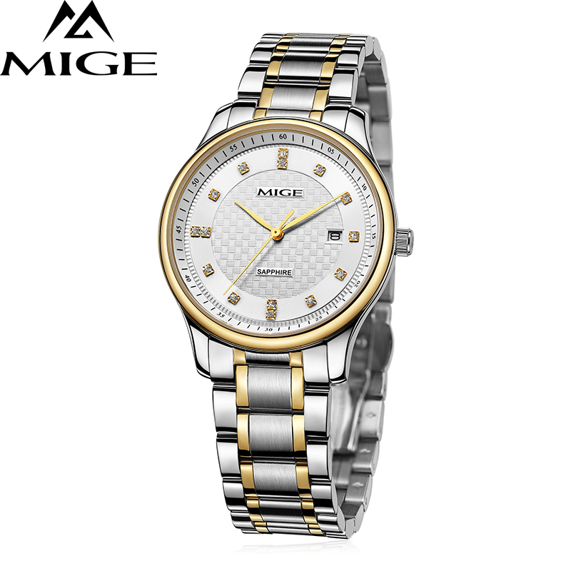 2017 New Hot Sale Lover Watch White Black Watchface Gold Watchband Waterproof Mans Clock Japan Quartz Movement Man Wristwatches mige 2017 new hot sale lover man watch rose gold case white casual ultrathin waterproof relogio masculino quartz mans watches