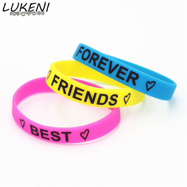Lukeni Hot 1pc Fashion Motivational Best Friends Forever Silicone Wristband 3 Colors Bracelet Bangles Gifts