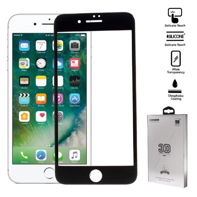 Para iphone 7 plus vidrio templado cooyee 3d completo que cubre protector de pantalla de cristal templado para iphone 7 plus 0.26mm arco borde
