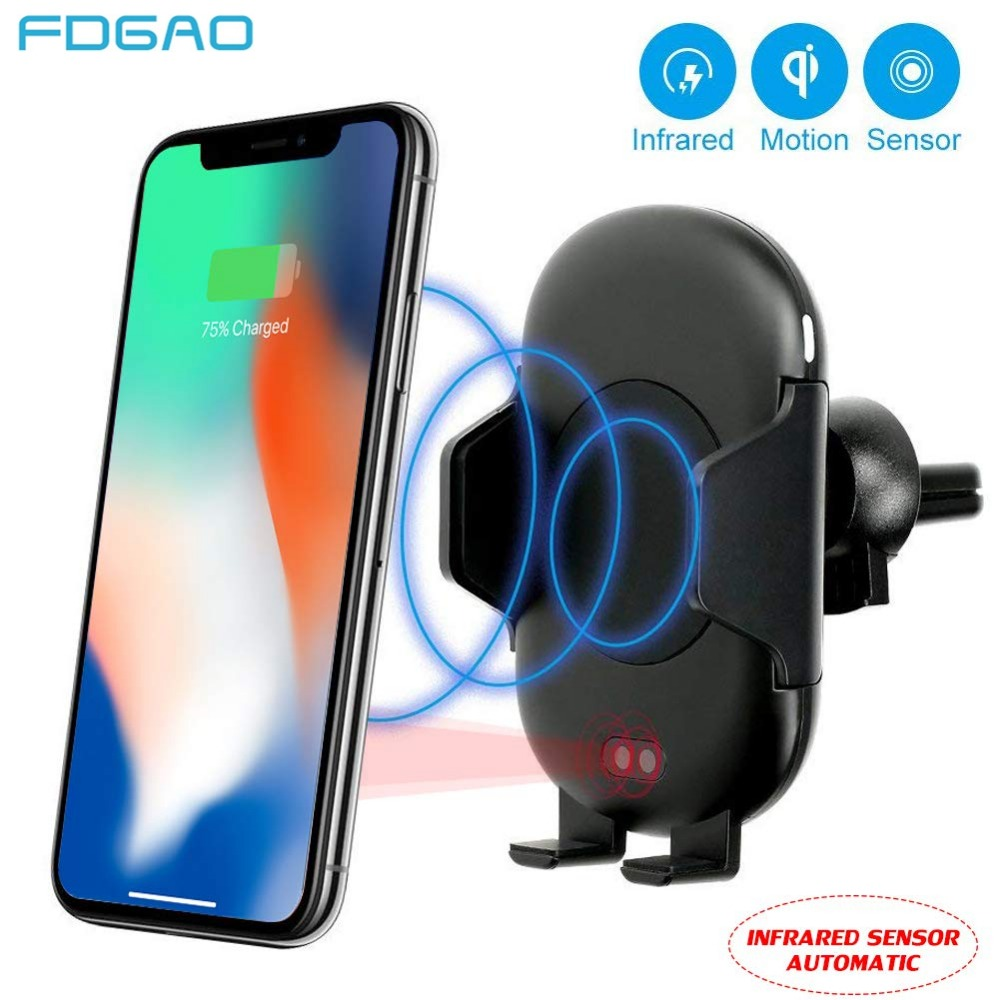 DCAE 10W Automatic Infrared Senser Car Qi Fast Wireless Car Phone Charger for iPhone XS Max XR X 8 Plus Samsung S9 S8 Note 9 8
