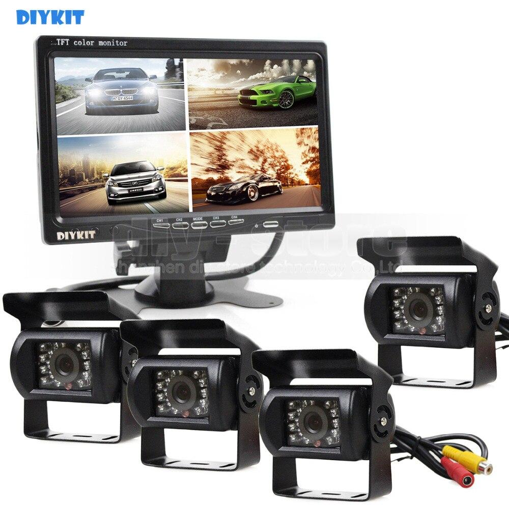 DIYKIT 800x480 7 pouces 4 Split QUAD moniteur de vue arrière moniteur de voiture + 4 x CCD IR Vision nocturne caméra de vue arrière pour camion Bus 1V4