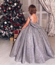 Bling Bling Silver Sequins Little Girls Birthday Dress Open Back with Bow Ball Gown Girls Pageant Gown Christmas Party Dress rose gold sequins blush tulle ball gown flower girls dresses 2018 cap sleeve puffy little girls birthday party dress any size