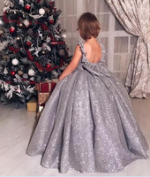 Luxury Silver Sequins Little Girls Birthday Dress O Neck Open Back with Bow Ball Gown Girls Pageant Gown Christmas Party Dress